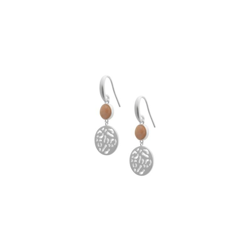 Kleep earrings with pink opal in silver