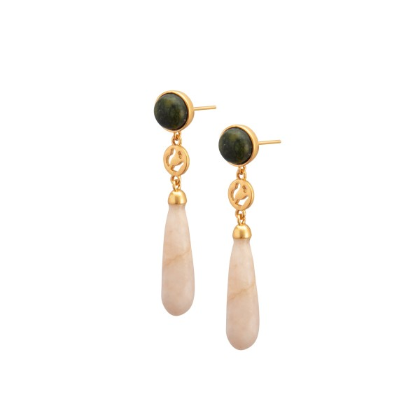Kleep earrings w.pink opal and serpentine in gold