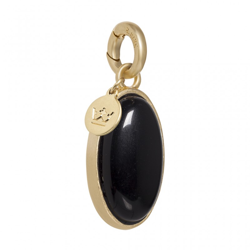 Essentials Bal charm with black agate in gold