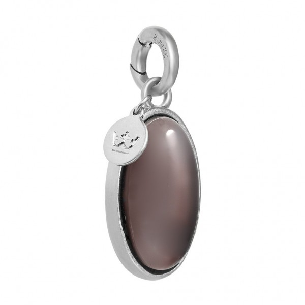 Essentials Bal charm with grey agate in silver