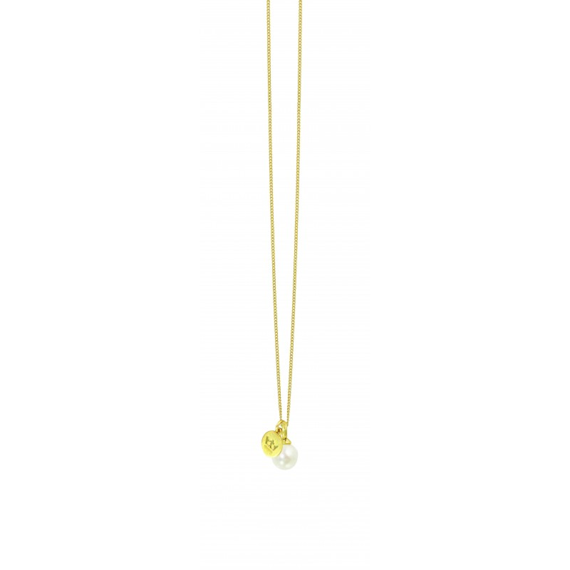 Essentials Hav long necklace with pearl charm in gold