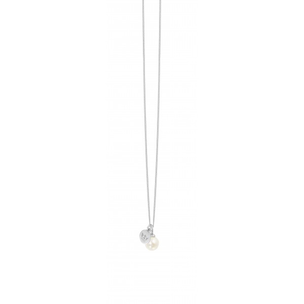 Essentials Hav long necklace with pearl charm in silver
