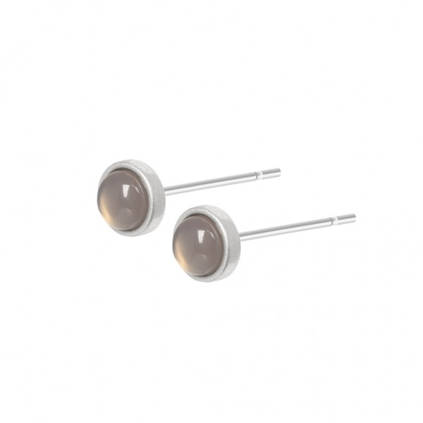Essentials Hygge ear studs with grey agate in silver