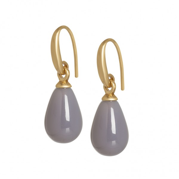 Essentials Lake Sunset earrings with grey agate in gold