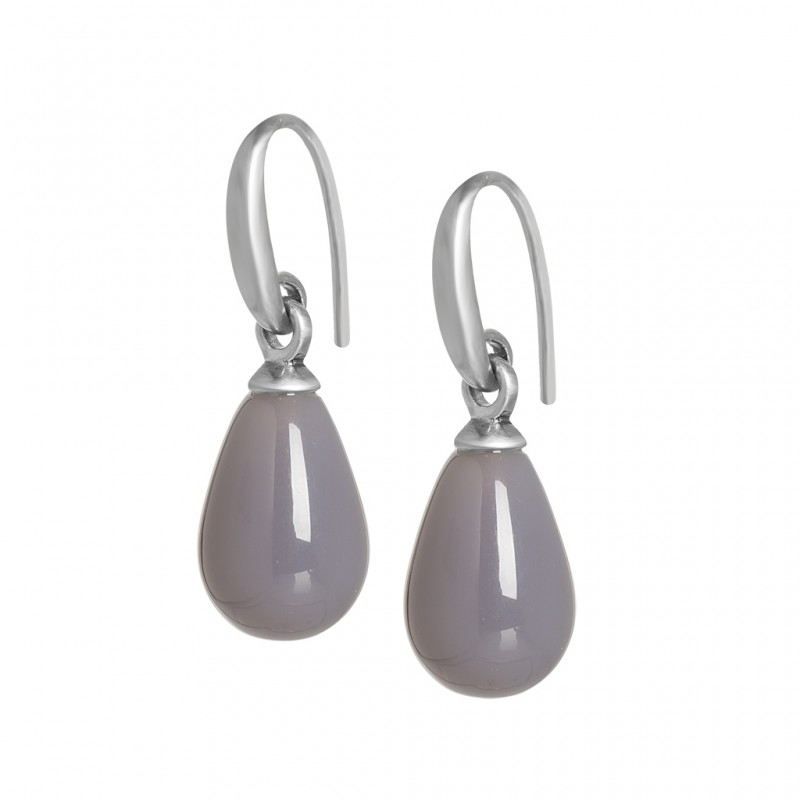 Essentials Lake Sunset earrings with grey agate in silver
