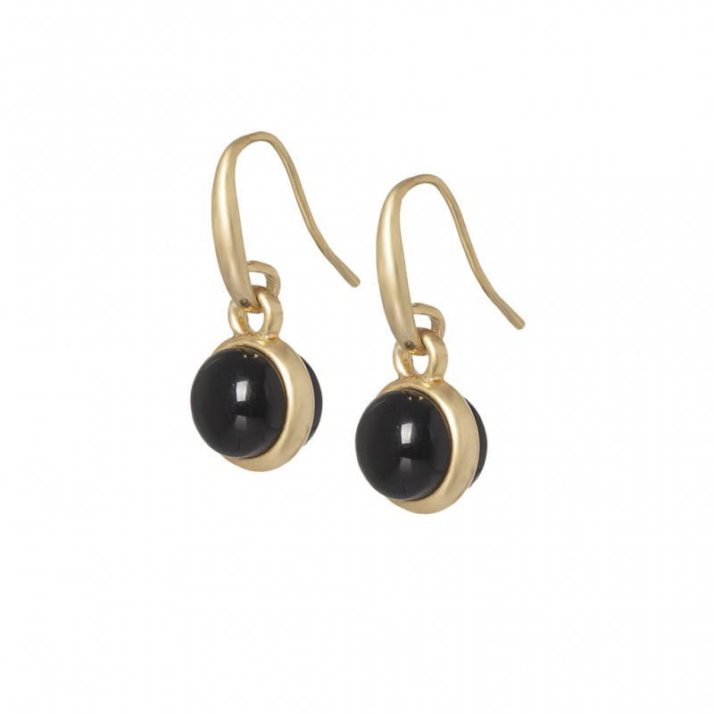 Essentials Seaberry earrings with black agate in gold