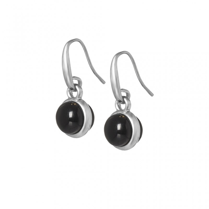 Essentials Seaberry earrings with black agate in silver