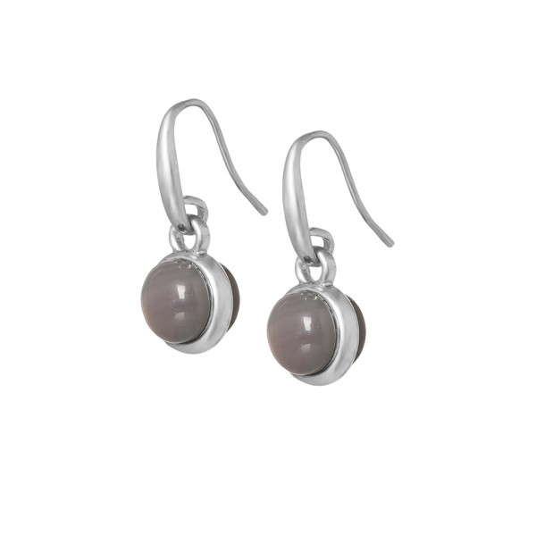 Essentials Seaberry earrings with grey agate in silver