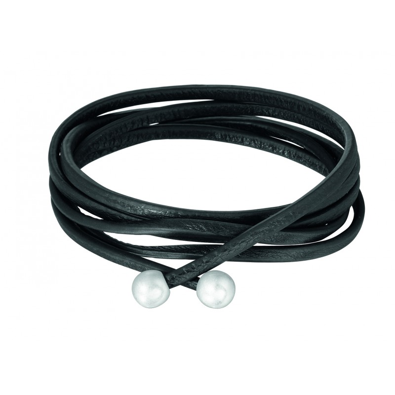 Essentials Tivoli leather wrap bracelet with silver tips in black