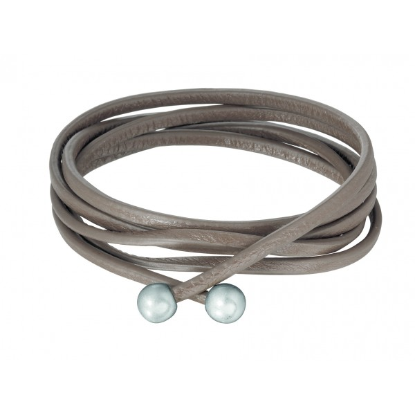 Essentials Tivoli leather wrap bracelet with silver tips in taupe
