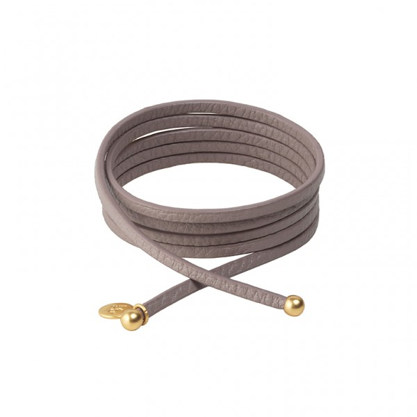 Connection Bracelet in Warm grey leather with Gold Plated Brass
