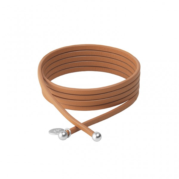 Connection Bracelet in Cognac leather with Silver Plated Brass