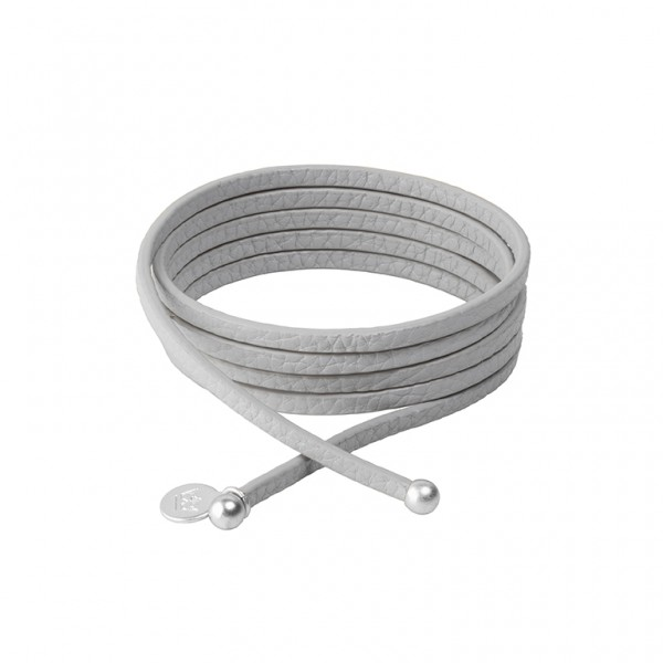 Connection Bracelet in Light Grey leather with Silver Plated Brass