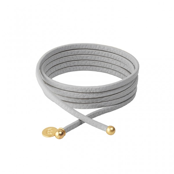 Connection Bracelet in  Light Grey leather with Gold Plated Brass