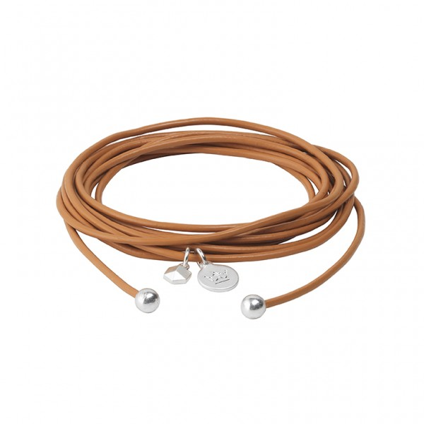 Connection Bracelet in Cognac leather with Silver Plated Brass Mini Charm