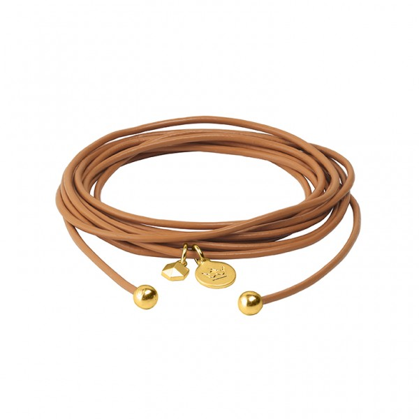 Connection Bracelet in Cognac leather with Gold Plated Brass Mini Charm