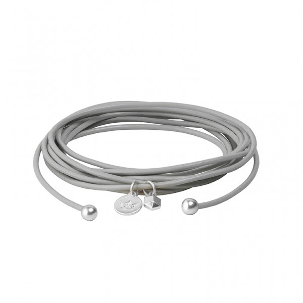 Connection Bracelet in Light Grey leather with Silver Plated Brass Mini Charm