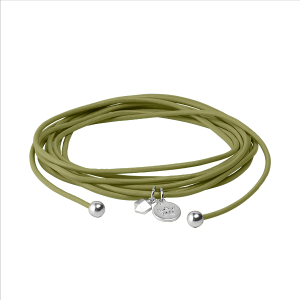 Connection Bracelet in Moss Green leather with Silver Plated Brass Mini Charm