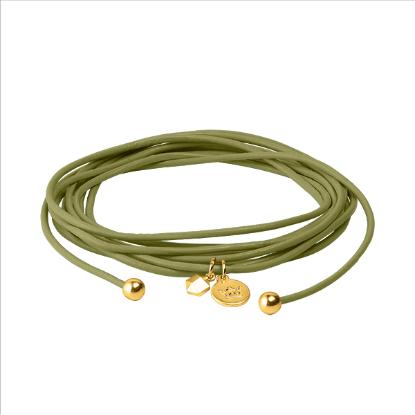 Connection Bracelet in Moss Green leather with Gold Plated Brass Mini Charm