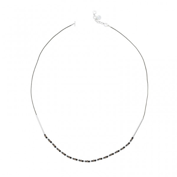 UG Long Necklace with Hematite Glass and Onyx in Plated Silver