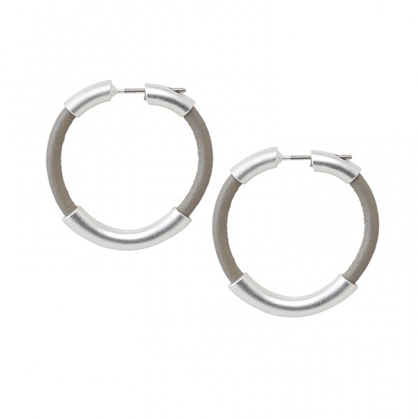 UG Leather Earrings in Plated Silver