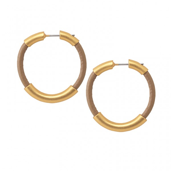 UG Leather Earrings in Plated Gold