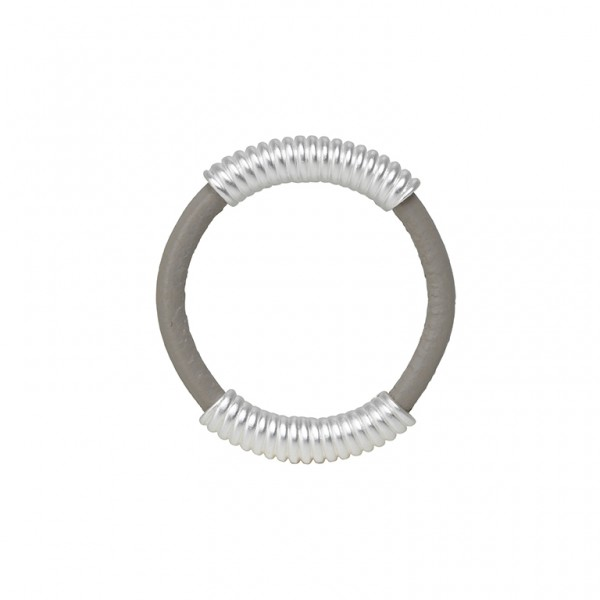 UG Leather Ring with Spring in Plated Silver