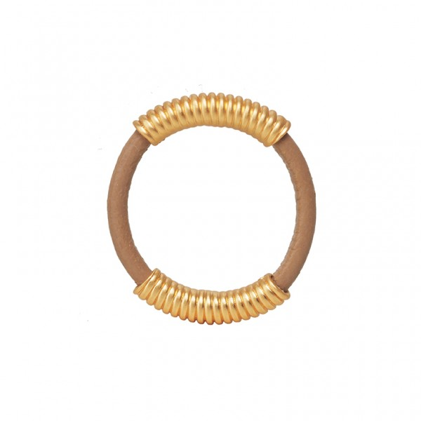 UG Leather Ring with Spring in Plated Gold