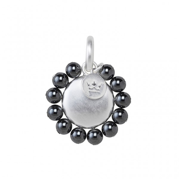 UG Charm with Hematite in Plated Silver