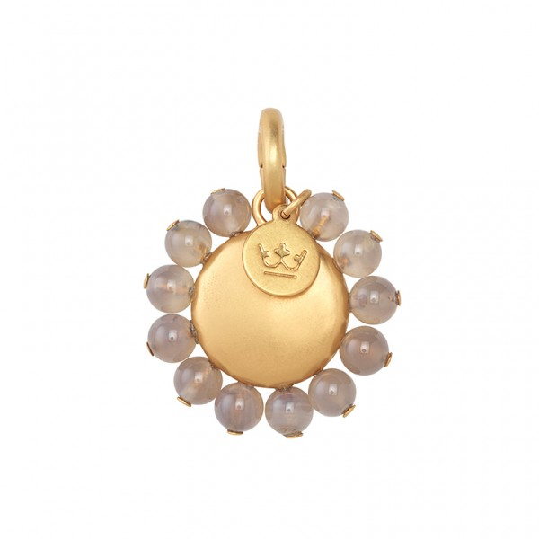 UG Charm with Grey Agate in Plated Gold