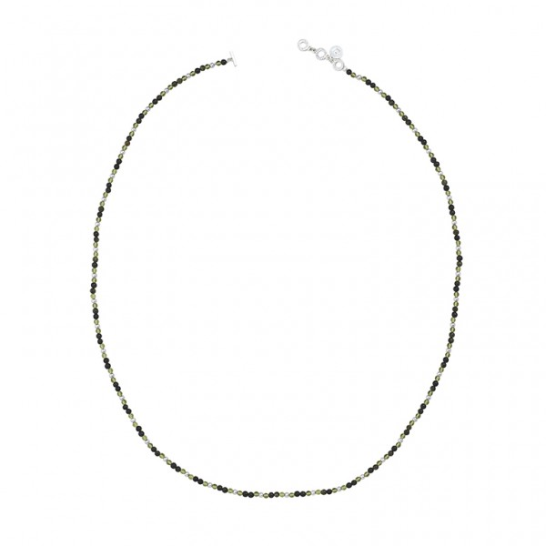 Diversity Beads necklace with Green Serpentine and glass in plated silver