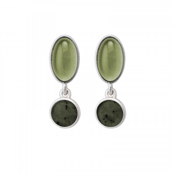 Diversity Beads earrings with Green Serpentine and glass in plated silver