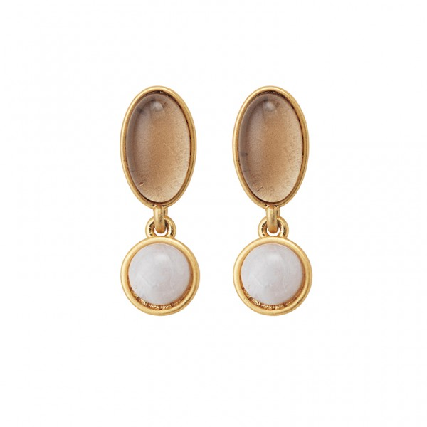 Diversity Beads earrings with Bamboo Agate and glass in plated gold