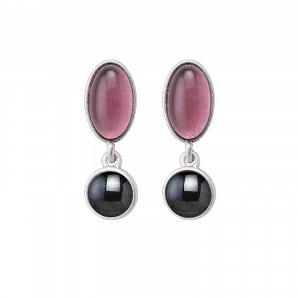 Diversity Beads earrings with Hematite and glass in plated silver
