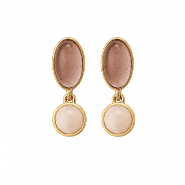 Diversity Beads earrings with Rose Aventurine and glass in plated gold