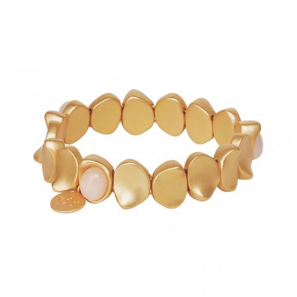 KBS Bracelet with Rose Aventurine in Plated Gold