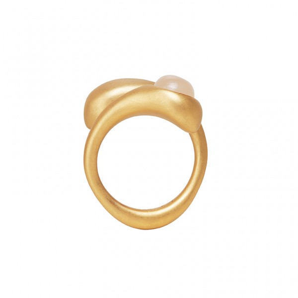 KBS Ring with Rose Aventurine in Plated Gold