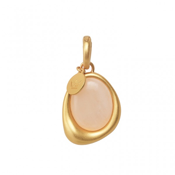 KBS Charm with Rose Aventurine in Plated Gold