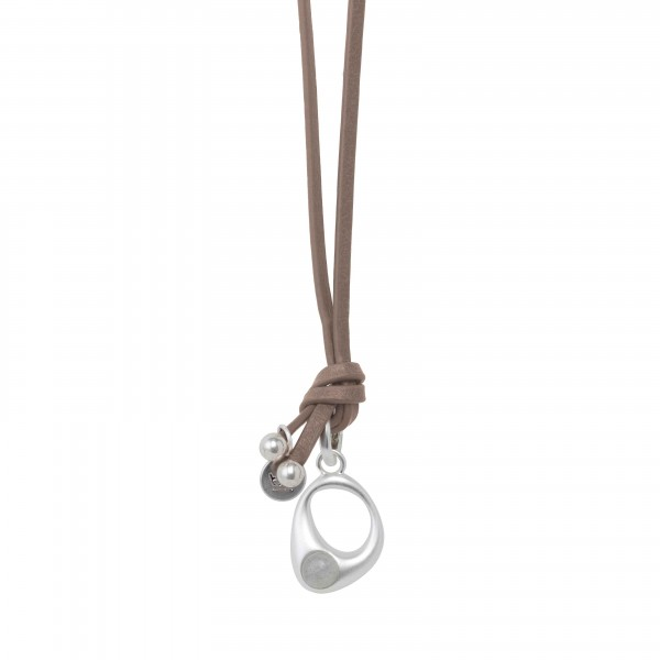 KBS Necklace in Plated Silver  with Labradorite in Plated Silver