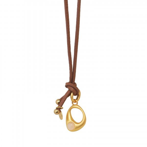 KBS Necklace in Plated Silver  with Rose Aventurine in Plated Gold