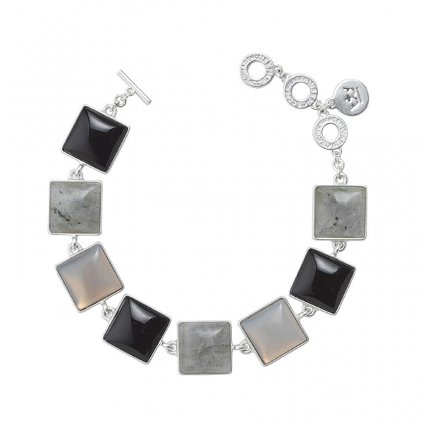 The Lakes bracelet with labradorite, grey agate, and glass in plated silver