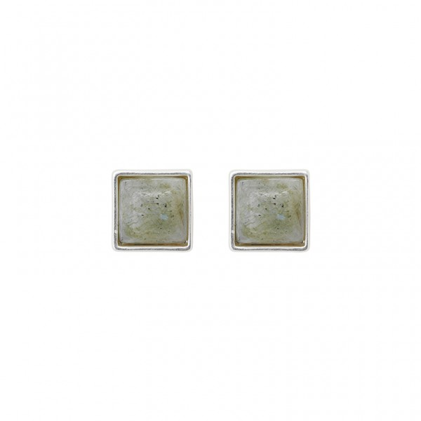 The Lakes ear studs with labradortie in plated silver