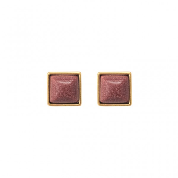 The Lakes ear studs with grey agate in plated silver