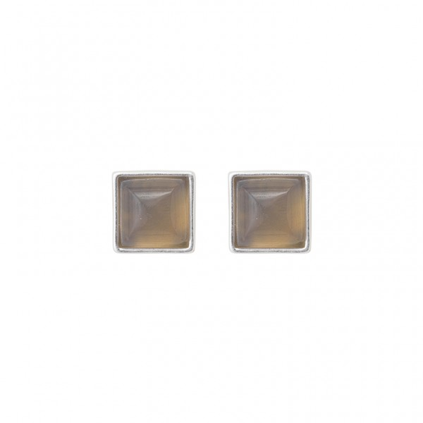 The Lakes ear studs with grey agate in plated gold