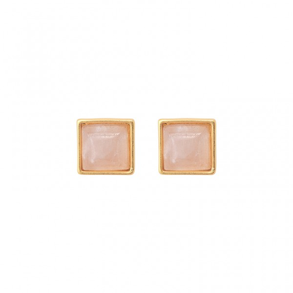 The Lakes ear studs with rose quartz in plated gold