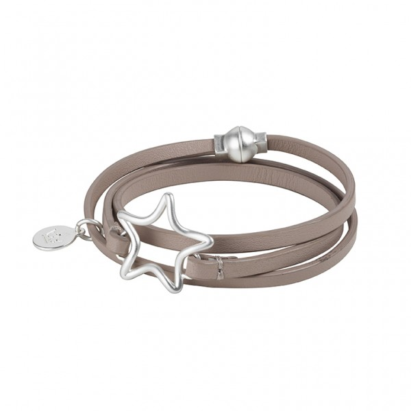 The Soul  Leather Bracelet in Plated Silver