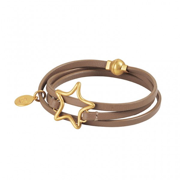 The Soul  Leather Bracelet in Plated Gold
