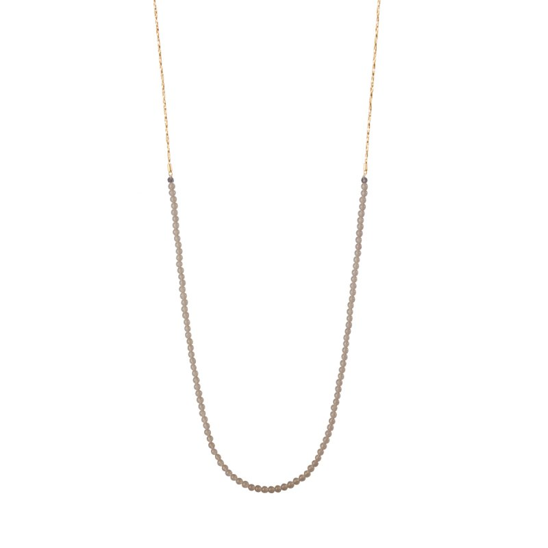 Couture Morning Dew Long Necklace with Grey Agate in Gold