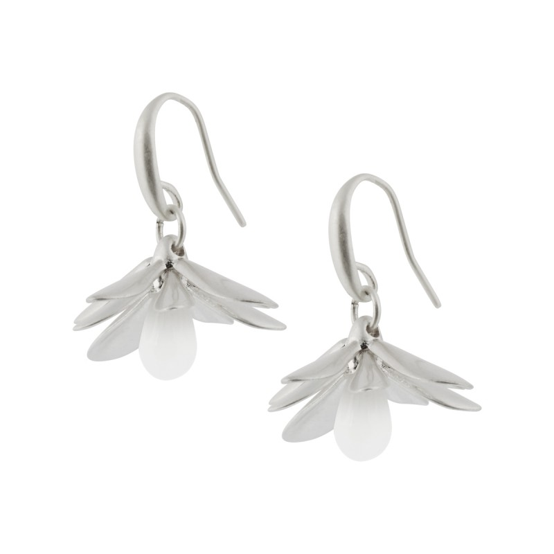 Couture  Sweet Daisies White Jade Earrings in Silver