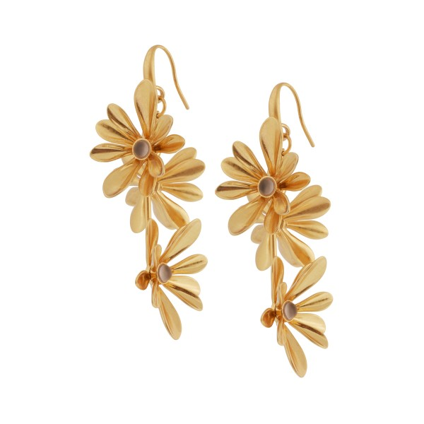 Couture Sweet Daisies Grey Agate Long Earrings in Gold